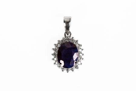 Silver pendant with gem stone.Macro shot