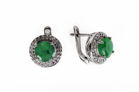 Pair of sapphire earrings isolated on white Banco de Imagens - 117906955