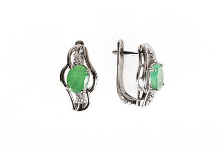 Pair of sapphire earrings isolated on white Banco de Imagens - 117907035