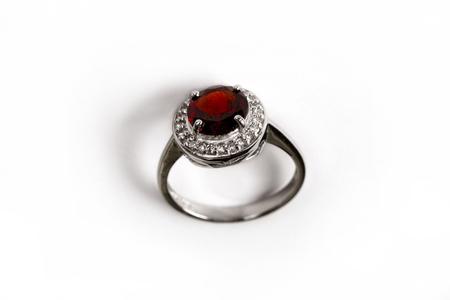 Diamond RingElegance luxury ring with ruby isolated on white background Banco de Imagens