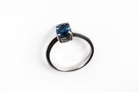 Diamond RingElegance luxury ring with blue sapphire isolated on white background