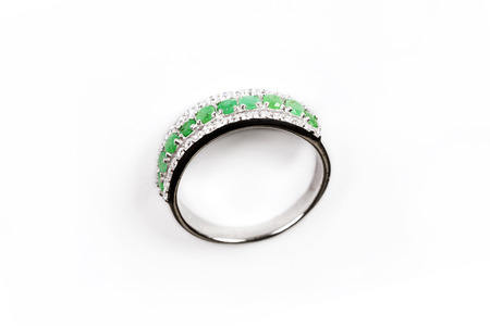 Diamond Ring/Elegance luxury ring with emerald isolated on white background
