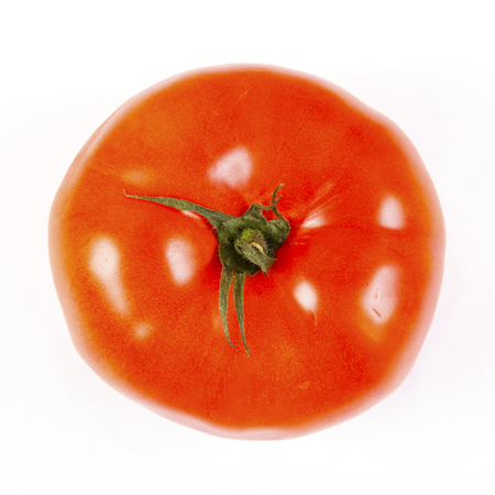 Tomato isolated on white background.Macro shot