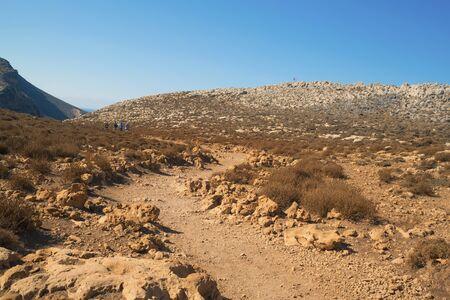 Gravel road to the balos lagoon in crete island Stok Fotoğraf