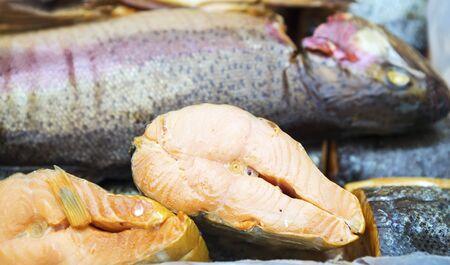 Background of smoke-dried fish close up.Set of smoked fish.  Stok Fotoğraf