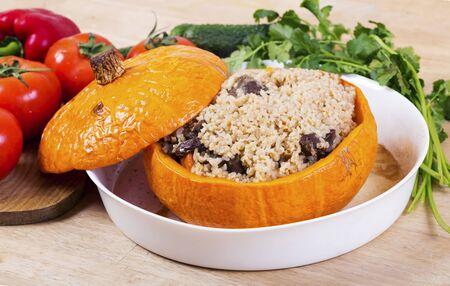 Pilaf in pumpkin. Azerbaijani national dish Banco de Imagens