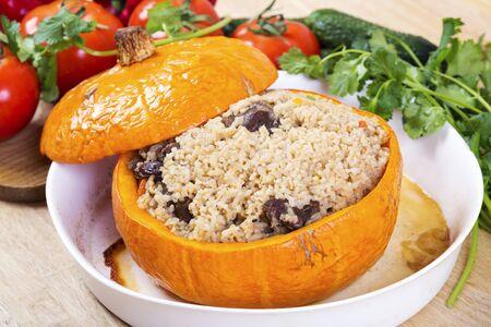 Pilaf in pumpkin. Azerbaijani national dish Reklamní fotografie