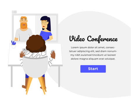 Web template with clean design. Bright blue accent color. Home working video conference. 일러스트