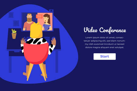 Web template dark mode design. Home working woman making video conference.