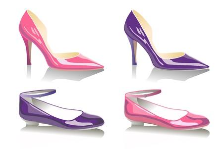 flat shoes: Fashionable female shoes  Illustration
