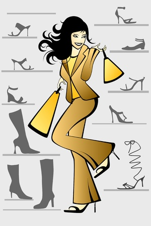 Young woman in a shoe store. Stock Vector - 11474086