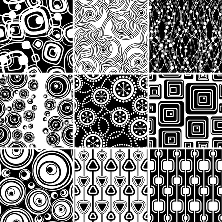 Set of black-and-white geometrical seamless ornaments backgrounds