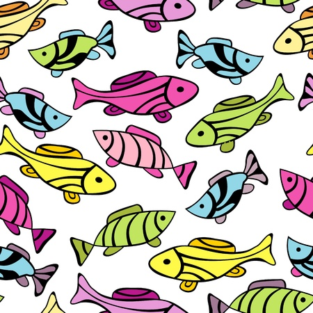 lively: Seamless pattern with little fishes