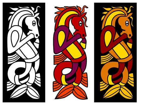 armband: Elemento di ornamento celtica con il cavallo Vettoriali