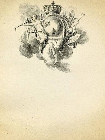 blazonry: antique (1750) emblem on old paper background