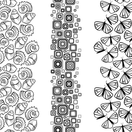 Sea shell, butterfly and geometric borders, seamless by vertical Vector