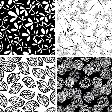 Set of stylish seamless floral backgrounds Ilustração