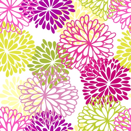 chrysanthemums: Floral seamless pattern. Stylish ornament Illustration