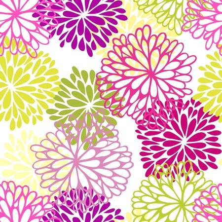 crisantemos: Seamless floral. Ornamento con estilo