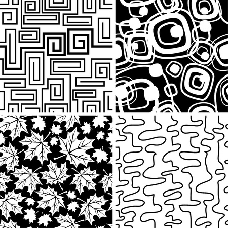 Set of stylish seamless geometical and floral backgrounds