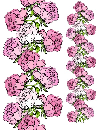 tracery: Rose and iris seamless borders with a head, seamless middle, and end elements that can be combined in any proportions or sizes
