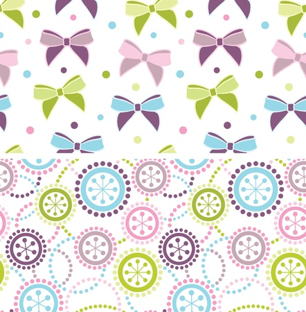 backgrounds grungy dots: Set of seamless ornaments in pastel colors
