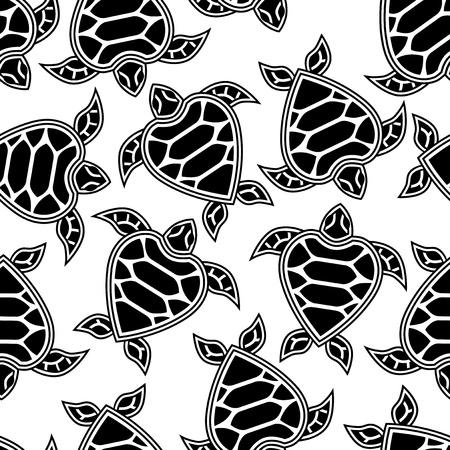 monochroom: Naadloos patroon met weinig schildpadden Stock Illustratie