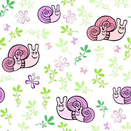 Seamless pattern with little snails and butterflies Vector