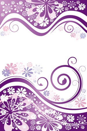 Floral cover. Stylish purple background. Ilustração