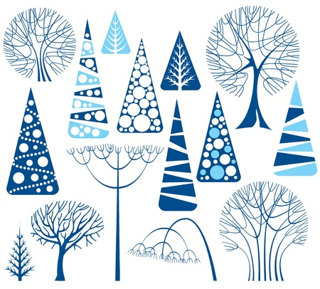 Set of stylized winter trees Illustration