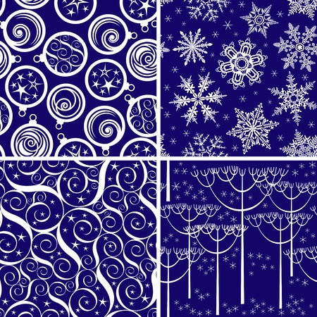 Set of blue seamless ornaments for Christmas decoration Vector