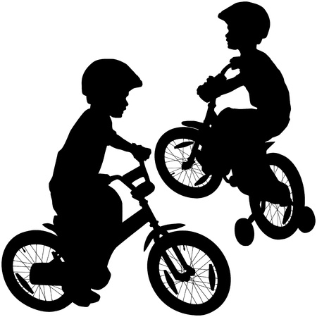 ni�os en bicicleta: ni�o y la silueta de la bicicleta