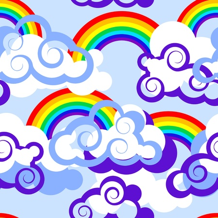 Seamless pattern with clouds and rainbows Vector