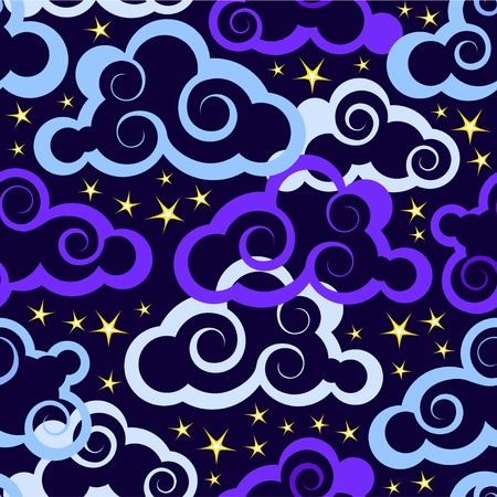 Seamless pattern with clouds and stars Vector