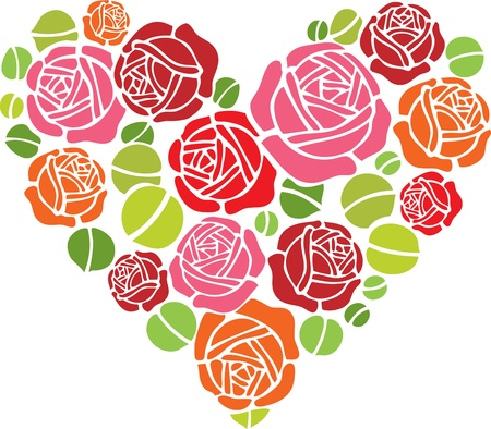 rose bush: Valetntine rose heart Illustration