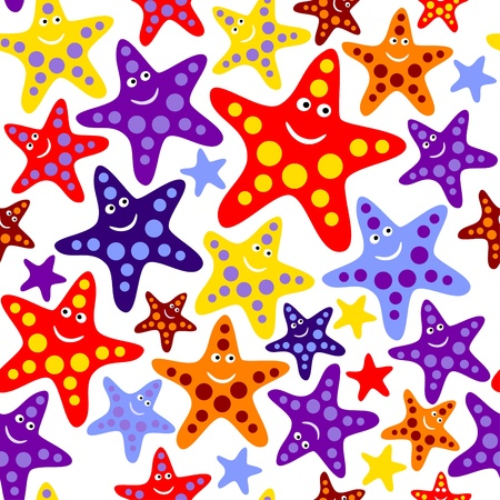 manic: Seamless pattern with funny fishstars