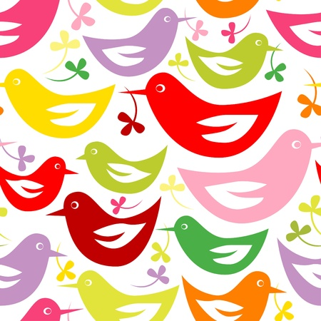 Seamless pattern with Easter birds Vector