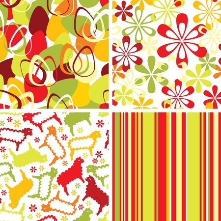 Set of easter seamless ornaments Vector