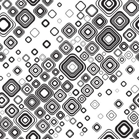quadratic: Stilish retro negro y negro ornamento sin fisuras