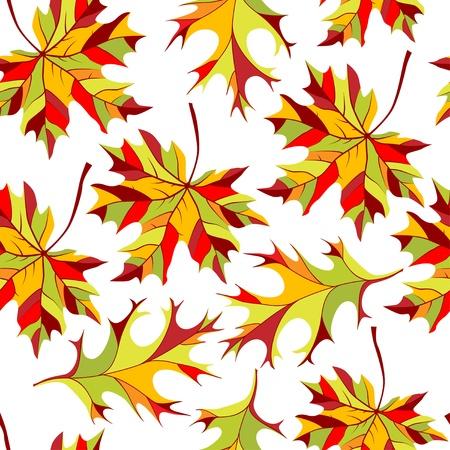 hojas secas: Patr�n sin fisuras con el oto�o las hojas Vectores