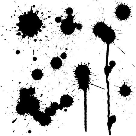 Set van inkt vlekken in zwart-wit Vector Illustratie