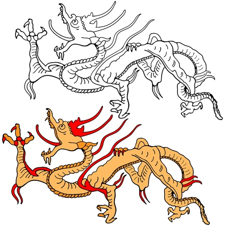 Illustration of oriental medieval dragon Vector