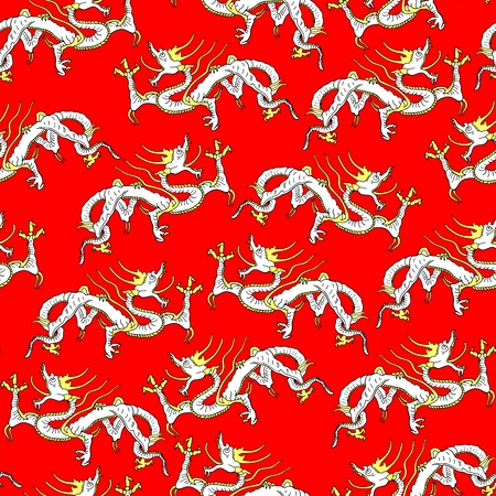 Asian dragon seamless background Vector