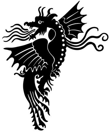 Dragón medieval europea Ilustración de vector