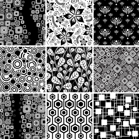 Set of seamless geometic and floral backgrounds