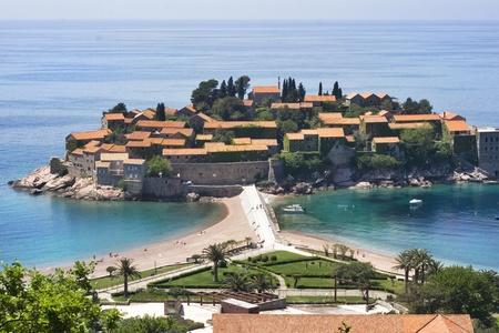sveti: The beautiful view on Sveti Stefan island, Montenegro Stock Photo