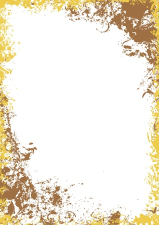 burnt edges: Gold grunge frame - raster background