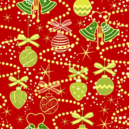 christmastree: Seamless pattern background with Christmas-tree decoration