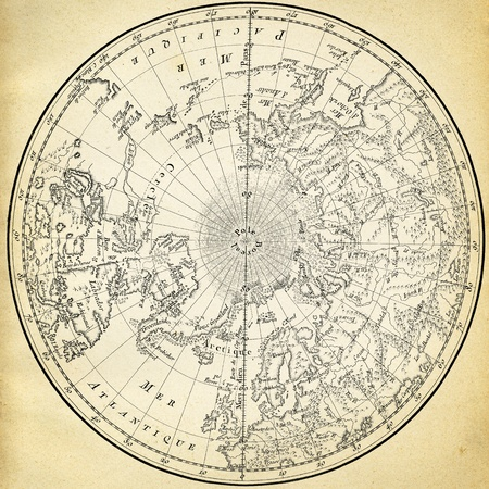 Ancient map (1746) of the northern hemisphere Editorial