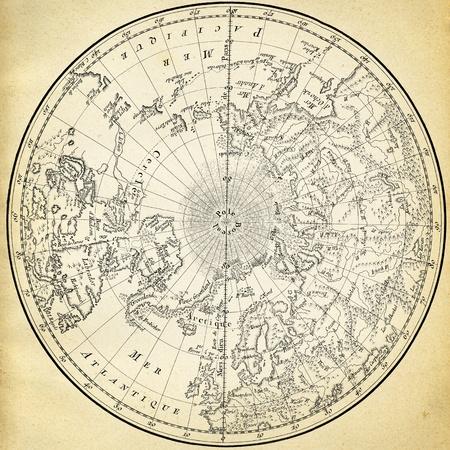 rękopis: Starożytna mapa (1746) z półkuli północnej